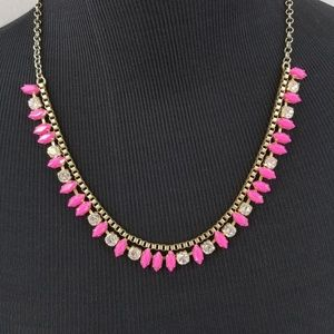 J. CREW Pink Gold Tone Link Statement Necklace